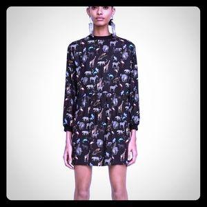 Zara mini dress safari print XS